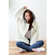 Dalkong - Faux-Shearling Hooded Zip Jacket