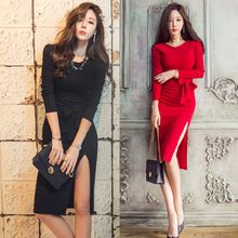 Gl.bY - Long-Sleeve Slit Sheath Dress