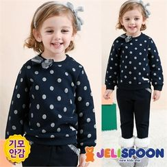 JELISPOON - Girls Set: Polka-Dot Brushed-Fleece Lined Sweatshirt + Sweatpants