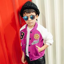 Lemony dudu - Kids Smiley Raglan Baseball Jacket