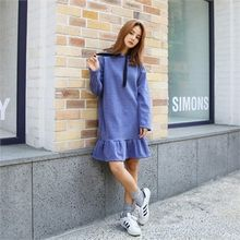 clicknme - Hooded Brushed-Fleece Lined Pullover Dress