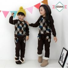 nanakids - Kids Set: Knit-Panel Brushed-Fleece Lined Sweatshirt + Sweatpants