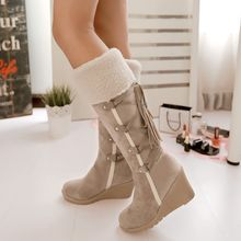 TALLY - Lace-Up Wedge Tall Boots