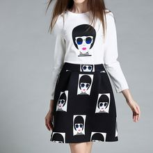 Merald - Set: Printed 3/4 Sleeve T-Shirt + Mini A-Line Skirt