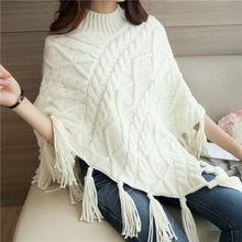 Bubbleknot - Tasseled Cape Knit Top