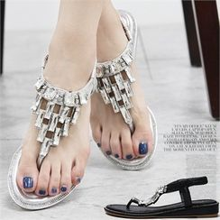 Reneve - Rhinestone Thong Wedge-Heel Sandals