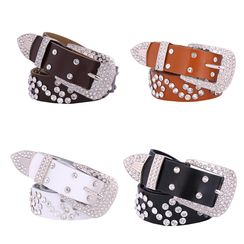 LONGMA - Rhinestone Genuine Leather Belt