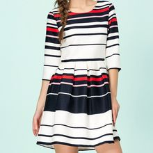 Strawberry Flower - Stripe 3/4-Sleeve A-Line Dress