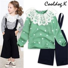 WALTON kids - Kids Set: Lace-Trim Top + Jumper Pants