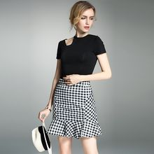 Y:Q - Set: Cutout Short-Sleeve Top + Gingham Mermaid Skirt