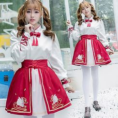 Cosgirl - Rabbit Embroidered Traditional Chinese Top / Skirt