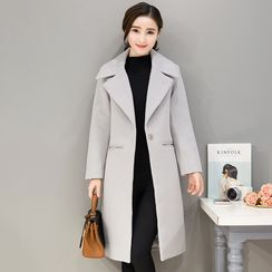 lilygirl - Plain Notch Lapel Long Coat