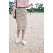 CHERRYKOKO - Pocket-Front Midi Pencil Skirt