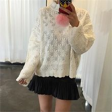 LIPHOP - Mock-Neck Pointelle-Knit Top