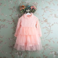 Kidora - Lace Long-Sleeve Tulle Dress
