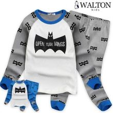 WALTON kids - Kids Pajama Set: Bat Print Top + Pants