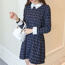 Angel Love - Window Pane Collared Long Sleeve Dress
