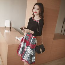 Bloombloom - Set: V-neck Long-Sleeve Top + Patterned Skirt