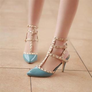 JY Shoes Studded Strappy Pointy Pumps | YESSTYLE