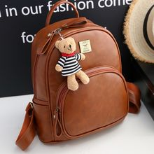 Bag Affair - Faux Leather Backpack with Bear Charm