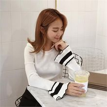 QNIGIRLS - Contrast-Trim Knit Top