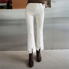 QNIGIRLS - Band-Waist Boot-Cut Corduroy Pants