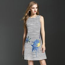 Elabo - Embroidered Stripe Sleeveless Dress