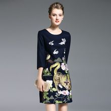 Elabo - 3/4-Sleeve Embroidered A-Line Dress