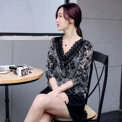 Romantica - Long-Sleeve Lace-Panel Top