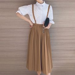 Queen Bee - Accordion Pleat Midi Chiffon Jumper Skirt