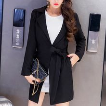 Everose - Notched-Lapel Tie-Waist Plain Open-Front Jacket