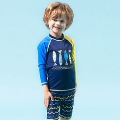 Moonrise Swimwear - Kids Set: Color Block Rashguard + Swim Shorts