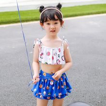 Goldlyre - Kids Set: Owl Print Swim Top + Swim Skirt + Swim Bottom