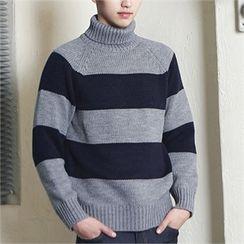 MITOSHOP - Turtle-Neck Striped Wool Blend Knit Top