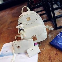 Shinian - Set: Studded Faux Leather Backpack + Pouch + Card Holder