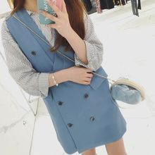 Ashlee - Double-Breasted V-Neck Pinafore Dress