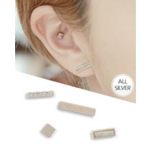 Miss21 Korea - Set of 4: Silver Rectangle Earring