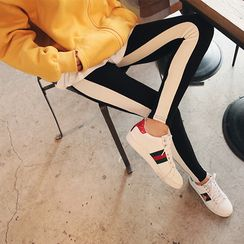 DABAGIRL - Contrast-Trim Ribbed Leggings