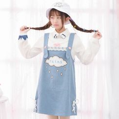 Moriville - Cloud Applique Denim Dungaree Dress
