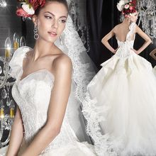 Angel Bridal - One-Shoulder Lace Ball Gown Wedding Dress