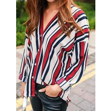 J-ANN - Collarless Stripe Shirt