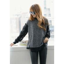 REDOPIN - Frilled-Sleeve Knit Top
