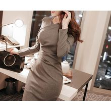 Marlangrouge - Long-Sleeve Shirred Sheath Dress