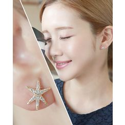 Miss21 Korea - Rhinestone-Star Stud Earrings