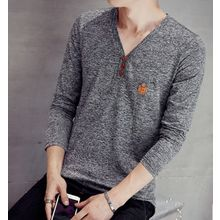Fisen - V-Neck Long-Sleeve T-Shirt
