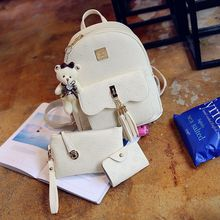 Shinian - Set: Tasseled Faux Leather Backpack + Pouch + Card Holder