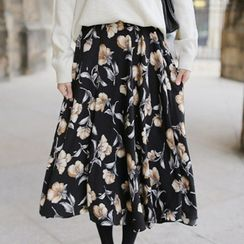 Queen Bee - Floral Print A-line Skirt