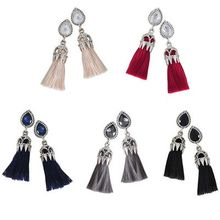 Ticoo - Crystal Tassel Earrings