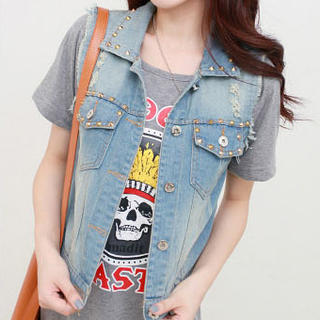 JVL - Washed Studded Denim Vest