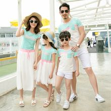 Tabla - Family Matching Stripe Short-Sleeve T-Shirt / Short-Sleeve Dress